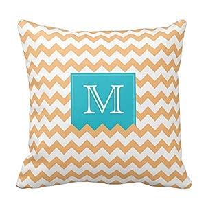 Amazon.com - Decors Orange Zig Zag Pattern & turquoise monogram box Decorative Pillow Covers ...