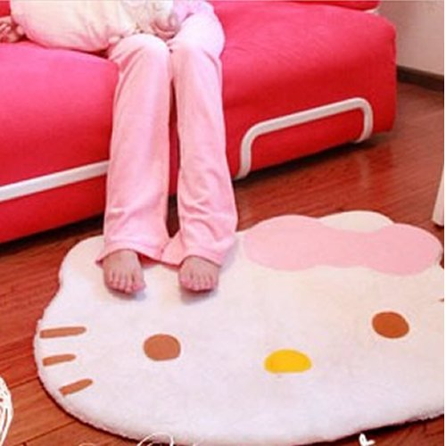 Lovely Big Head Hello Kitty Fuzzy Floor Cushion Mat Pad Bedroom Decoration Footcloth Rug 1 PC White Picture