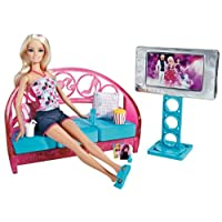 Barbie Movies to Munchies Living Room and Barbie Doll Set