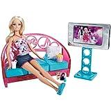 Barbie - T9080 -  Mobilier de Poupée - Poupee Barbie + Mobilier Salon