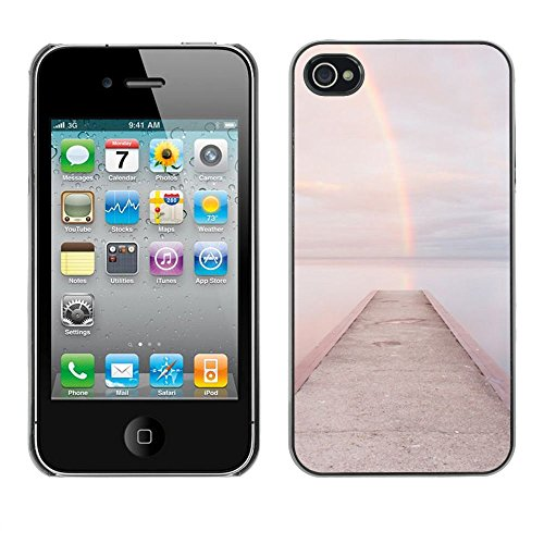 For Apple iPhone 4 / iPhone 4S / 4S Case , Beach Dock Jetty Water - Colorful Pattern Hard Back Snap-On Cover Case Skin Mobile Phone Shell Bumper