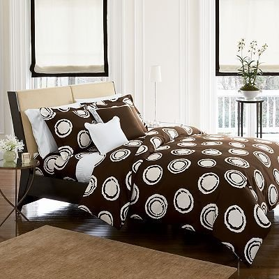 Vera Wang Signature Key Full/Queen Comforter Cover Duvet with Matching Shams - Brown/White Abstract Circle