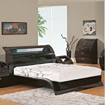 Hot Sale Global Furniture USA Madison Collection MDF/Wood Veneer Bedroom Set with King Bed, Black/Kokuten