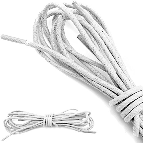 DailyShoes Round Waxed Shoelaces Oxford Flat Dress Canvas Shoe Laces (Great for Bridesmaid), Ivory