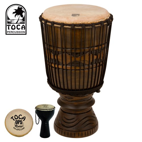 Toca TBD Bougarabou Drum with 12 inch Calf-skin head and African Mask Finish. Also includes Toca Shaker (#TDS-DPS)