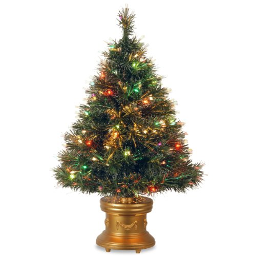 National Tree Szix7-102R-36-1 Fiber Optic Ice Tree With Revolving Led Gold Base And 50-Multi Lights-Ul, 36-Inch