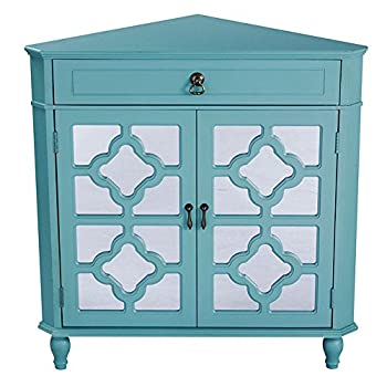 Heather Ann Creations Modern 2 Door Corner Cabinet With Drawer With 8 Pane Clover Mirror Insert Turquoise