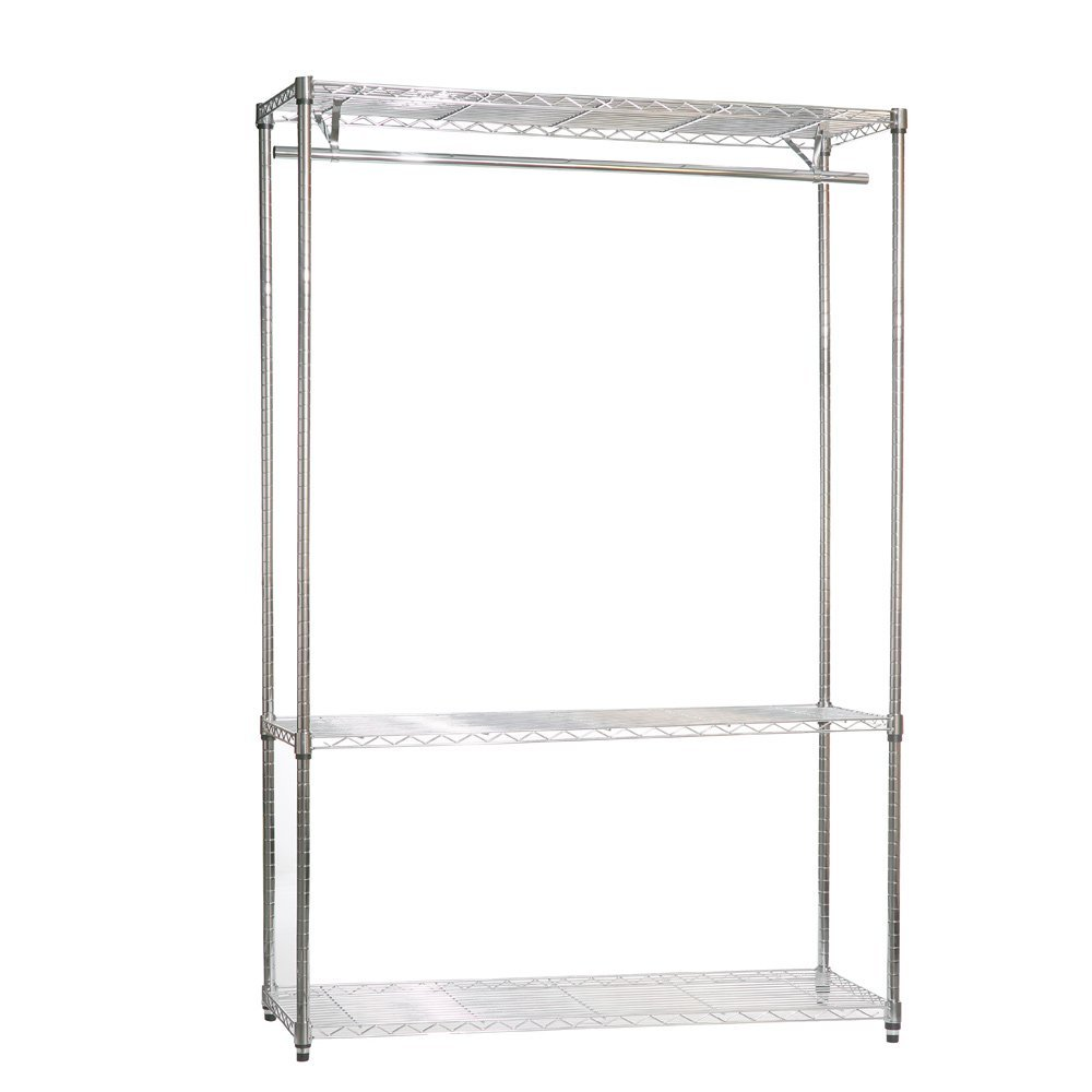 Chrome Wire Shelving with Clothes Rail and 3 Shelves   1210mm (4ft) Wide       Customer review