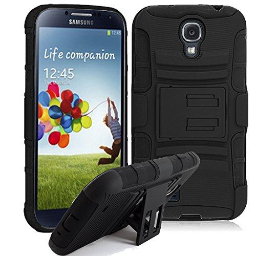 Samsung Galaxy S4 i9500 S4 I9505 LTE I9052 HYBRID HARD CASE SCHWARZ GRIP OUTDOOR COVER BUMPER SCHUTZ HÜLLE ETUI HANDY BLACK