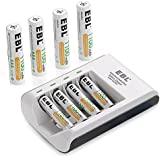 EBL® 4 Bay / Slot Individual AA AAA Rechargeable Battery Rapid Charger with 8 Packs AAA 1100mAh Rechargeable Battery