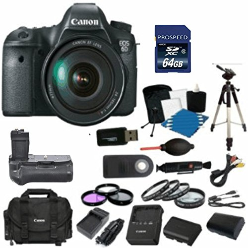 Canon Eos 6D Digital Slr Camera Body With Ef 24-105Mm L Is Usm Lens With 64Gb Card + Original Canon Case + 2 Batteries & 2 Chargers + Battery Grip + Tripod + Uv/Fld/Cpl Filter Kit + Macro Kit + More!