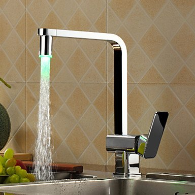 Chrome finish kitchen faucet with color changing led light star346 - Kitchen faucet with led light ...