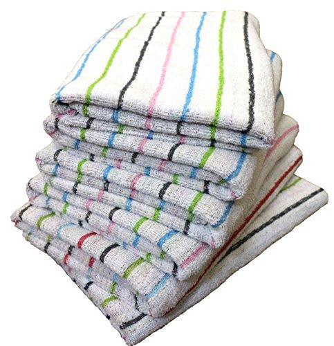 やわらか バスタオル 6枚セット 薄手速乾 無撚糸 タオル 綿100% ストライプ ドット (ストライプ)