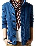 (アルファーフープ) α-HOOP メンズファッション カジュアル ストリート ボタン カーディガン アウター ジャケット M ~ XXL 大きい サイズ も KDG (14.ブルー(Lサイズ).)