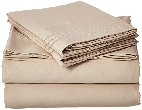 Elegant Comfort 1500 Thread Count Luxury Egyptian Quality Wrinkle and Fade Resistant 4-Piece Sheet Set, California King, Beige (California Queen Sheet Set compare prices)