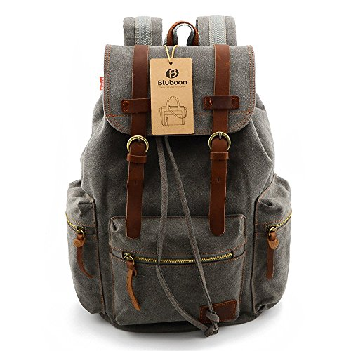 Canvas-Vintage-Backpack-Men-Rucksack-Bookbag-Leather