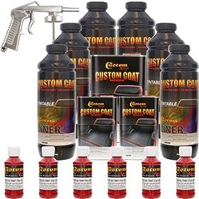 Custom Coat HOT ROD RED 6 Liter Urethane Spray-On Truck Bed Liner Kit with (FREE) SPRAY GUN