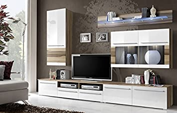 "BMF ""MALOU GERMAN STYLE"" GLAZED Modern BALTIMORE WALNUT MATT & WHITE HIGH GLOSS Entertainment Wall Unit - Living Room / Bedroom / STUDIO FLAT - Furniture Set - LED Cabinets - ONLY FROM BMF !!!"