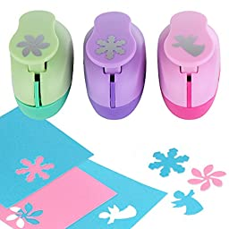 YazyCraft Retro Flower, Angel and Snowflake shaped Paper Punch, 3 Pack