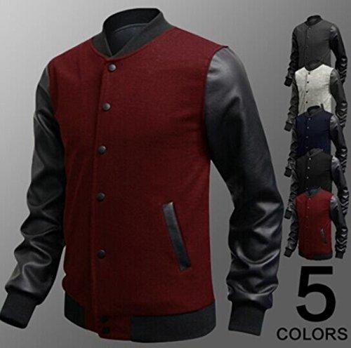 Junsi uomo casual Baseball uniforme a maniche lunghe in pelle PU splicing cotone giacca cappotto colore nero taglia M