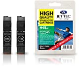 Jettec HP45 Black - 2 HP Compatible Printer Ink Cartridges for Deskjet 990cxi 710c 932c 960c 930C 815c 830c 832c 855cxi 870cxi 882c 890cse 895cxi 934c 935c 950c 955c 959c 980cxi 990cm 970 1100c 1180 1220 1600c 6122 6127 9300 880 1120c 820 850 995 1120Cxi