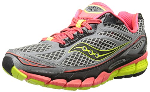 Saucony Women's Ride 7 Viziglo Running Shoe,Silver/Vizi Coral/Citron,11 M US