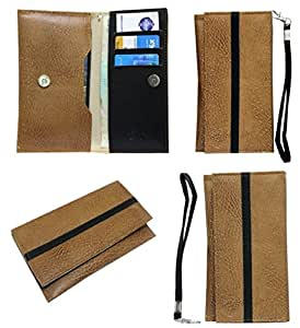 Jo Jo A5 S Series Leather Wallet Universal Pouch Cover Case For Lava A52  Tan Black
