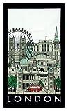 London Collage Cityscape Tea Towel Black Border Famous Places Big Ben Red Bus St Pauls Tower Bridge
