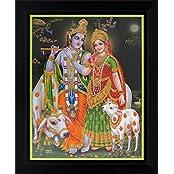 Lord Krishna / Shree Krishna / Shri Krishna With Radha / Radha-Krishna Poster With Frame (Size: 8.5x11 Inch Framed)