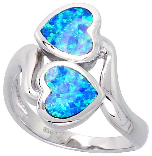 14K White Gold Rhodium Plated Sterling Silver Wedding & Engagement Ring Sterling Silver, Synthetic Opal Inlay Double Heart Ring For Women 19MM ( Size 6 to 9) Size 8