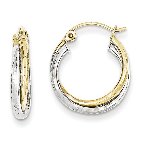Round Hoop Earrings In White & Yellow Gold - 10Kt - Hinge With Notched