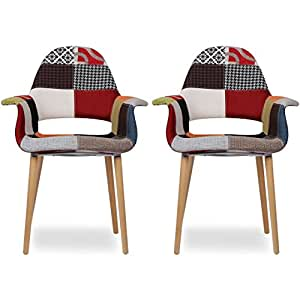 2xhome set of two 2 multi color for Multi coloured fabric dining chairs