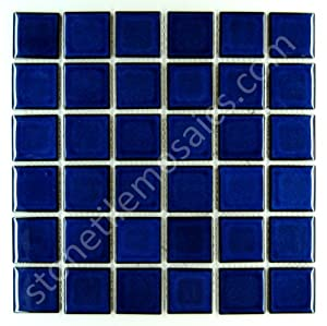 square cobalt blue porcelain mosaic glossy tile 2x2 inch for bathroom