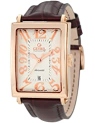 Gevril Men's 5100A Avenue of America Swiss Automatic Rose-Gold Sub-Second Leather Watch