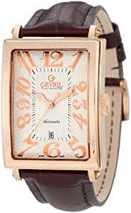 Gevril Avenue of America Men's Automatic Watch with Silver Dial Analogue Display and Brown Leather Strap 5100A
