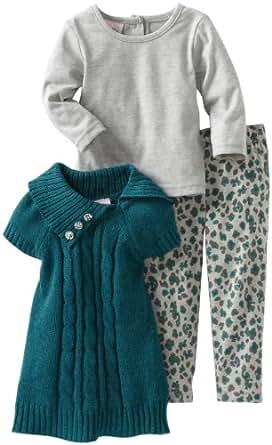 Little Lass Baby Girls' 3 Piece Cheetah Print Sweater Set, Teal, 12 Months