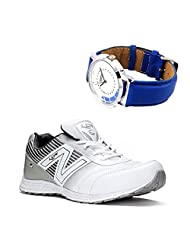 Lancer Adelaide White & Light Gary Stylish Sport Shoes With Lotto Blue WatchFor Men's