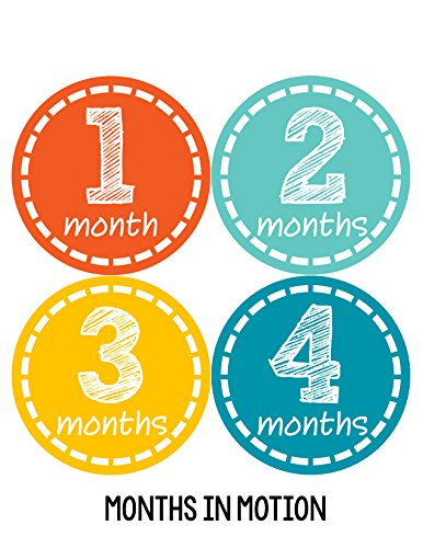 Months in Motion 167 Monthly Baby Stickers Milestone Photo Prop Newborn Boy