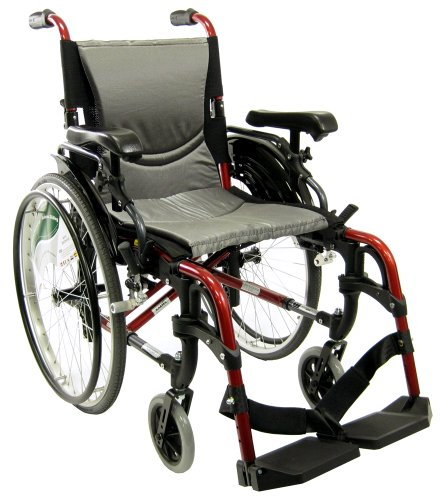 Karman Healthcare S-305 Ergonomic Ultra Lightweight Manual Wheelchair, Pearl Silver, 18 Inches Seat Width