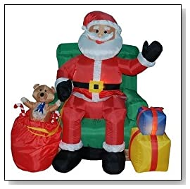 Four Foot Animated Inflatable Santa Clause In Chair