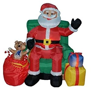 4 Foot Animated Christmas Inflatable Santa Claus in Green Chair Yard D?cor