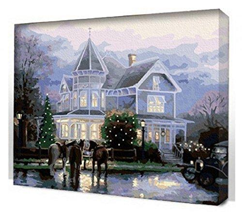 Schloss Villa-DIY Malerei Kunst Bild auf Leinwand drucken Modern Home Schmuck Wandbilder 16x20 Zoll Frameless