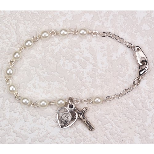First Holy Communion Childrens Girls Rosary Bracelet 6 1/2
