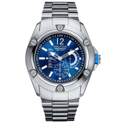 Nautica Mens Watch A17537G with Blue Dial with Stainless Steel Bracelet