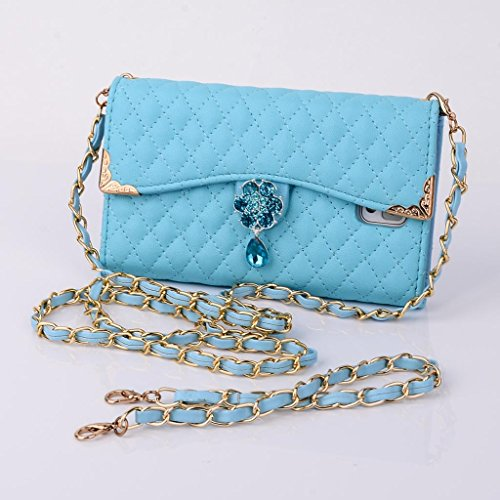 Multi-Purpose Fashion Diamond Lattice Cell Phone Pouch Folio Flip Pu Leather Case Wallet Cover For Samsung Galaxy Note3 N900 N9000 With Multiple Id Card Holders & Long Strap & Money Pocket & Bling Flower Design - Sky Blue