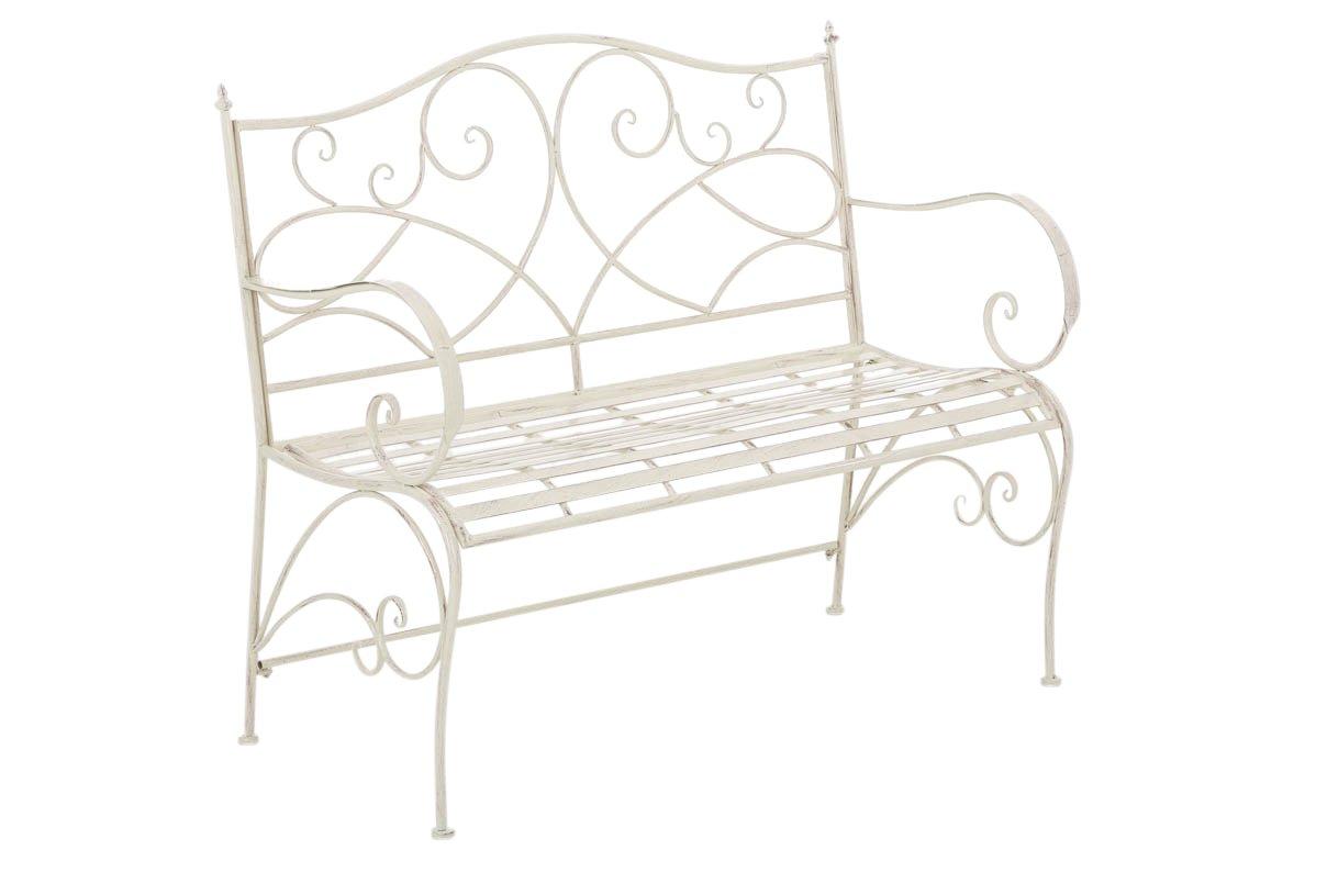CLP Gartenbank FILIZ im Landhausstil, aus lackiertem Eisen, 104 x 52 cm - aus bis zu 6 Farben wählen antik-creme