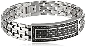 Men's 3/4cttw Black Diamond Stainless Steel Carbon Fiber Identification Bracelet, 8.75
