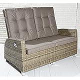 Luxus Polyrattan Sofa mit verstellbaren Rückenlehnen Gartensofa Loungesessel Relaxsessel Positiosstuhl Lounge Rattan 2er-Sofa Bank Gartenbank Balkon