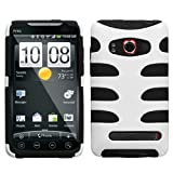 51SicMaLtIL. SL160  Snap On Hard Cover Case Cell Phone Protector For Sprint HTC EVO 4G Solid Ivory White/Black Fishbone