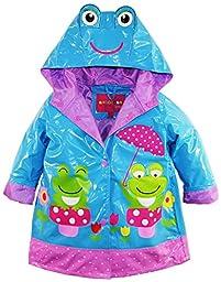 Wippette Baby Girls Waterproof Vinyl Fully Lined Hooded Froggy Raincoat Jacket, Blue, 24 Months